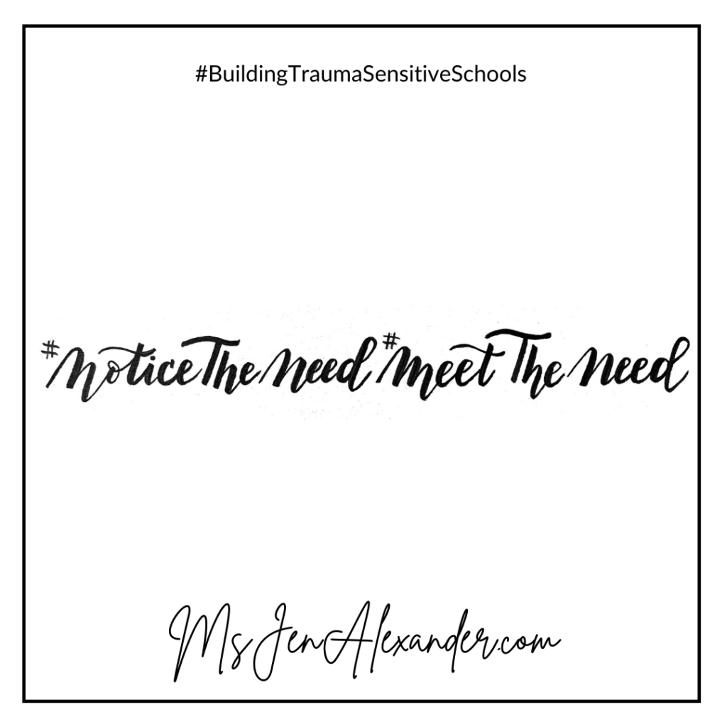 Black text on white background that says #NoticeTheNeed #MeetTheNeed.